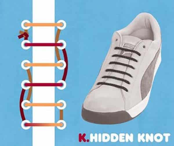cách buộc giày giấu dây