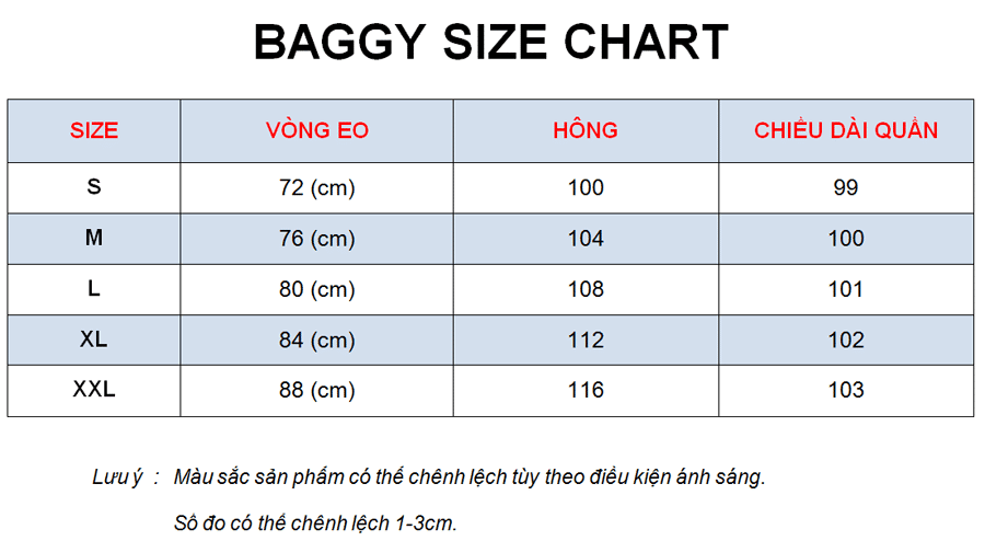Baggy Size Chart